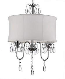 Contemporary 3-Light Chrome Chandelier with White Shade