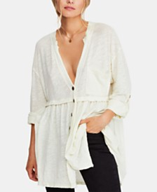 Free People Jolin Deep-V Raw-Seam Blouse