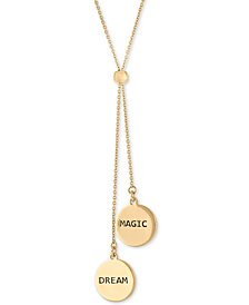 "RACHEL Rachel Roy Gold-Tone Double Charm 30"" Adjustable Lariat Necklace"