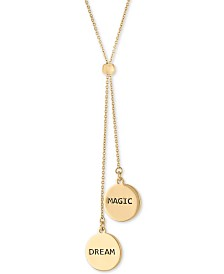 "RACHEL Rachel Roy Gold-Tone Double Charm 30"" Adjustable Lariat Necklace"