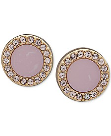 DKNY Gold-Tone Pavé & Stone Extra Small Stud Earrings, Created for Macy's