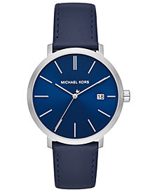 Michael Kors Men's Blake Navy Leather Strap Watch 42mm