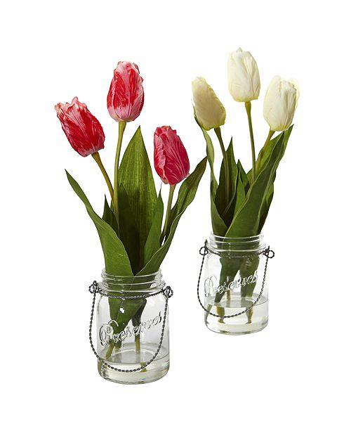 Nearly Natural Tulip Artificial Arrangement in Jar, Set of 2