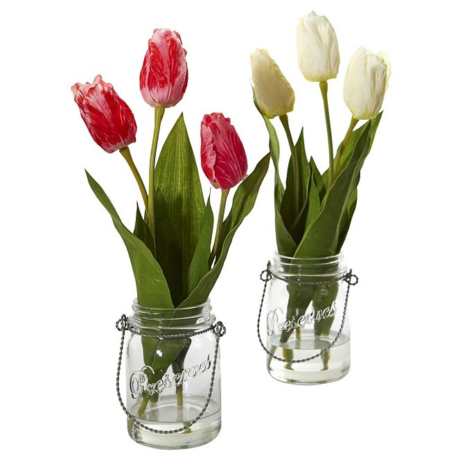 Nearly Natural Tulip Artificial Arrangement in Jar, Set of 2