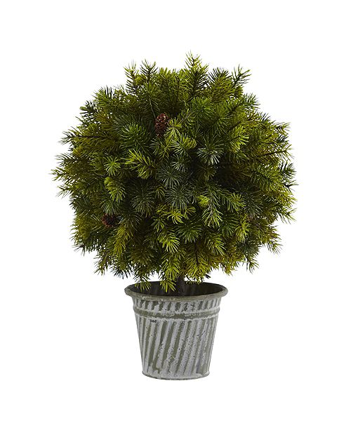 """Nearly Natural 18"""" Pine Ball in Iron Top"""