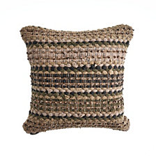 LR Home Khaki Chevron Striped Throw Pillow