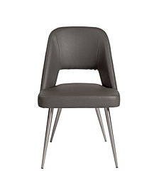 Blair Side Chair Leatherette with Brushed Stainless Steel Legs - Set Of 2