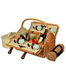 Picnic at Ascot Yorkshire Willow Picnic Basket with Service for 4 with Blanket
