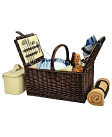 Picnic at Ascot Buckingham Willow Picnic Basket with Blanket - Service for 4