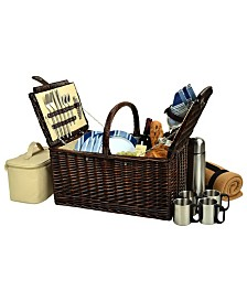 Picnic at Ascot Buckingham Willow Picnic, Coffee Basket for 4 with Blanket