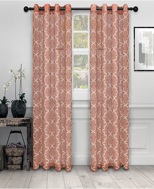 "Superior Semi-Sheer Quatrefoil Printed Curtain Panels, Set of 2, 52"" x 96"""