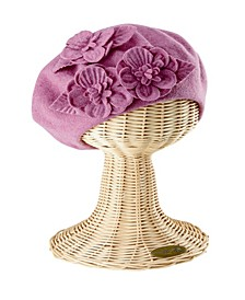 Wool Beret with Flowers