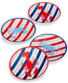 Martha Stewart Collection Grilling Melamine Appetizer Plates, Set of 4, Created for Macy's