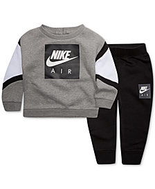 Nike Baby Boys 2-Pc Logo-Print Sweatshirt & Sweatpants Set