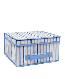 Kids Medium Collapsible Storage Box in Painterly Blue Stripe