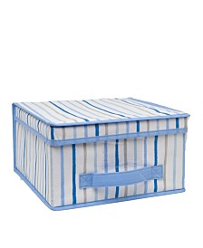Laura Ashley Kids Medium Collapsible Storage Box in Painterly Blue Stripe