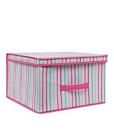 Kids Jumbo Collapsible Storage Box in Painterly Pink Stripe