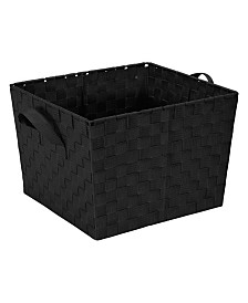 Simplify Large Woven Storage Bin in Black