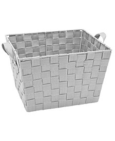Small Woven Storage Bin in Gray