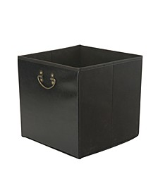 Faux Leather Collapsible Storage Cube in Black