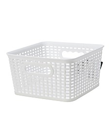 Simplify Textile Weave Small Decorative Storage Tote in White