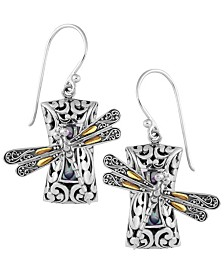 Sweet Dragonfly Sterling Silver Earrings embellished by 18K Gold Accents on 4 strips of Dragonfly's Wings and Paua