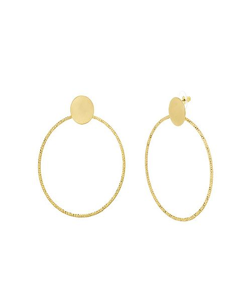 Catherine Malandrino Women's Polished Circle Yellow Gold-Tone Hoop Earrings