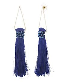 Women's Blue Rhinestone Dangling Yellow Gold-Tone Blue Tassel Earrings