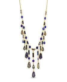 Women's Multicolored Geo Rhinestone Yellow Gold-Tone Waterfall Style Necklace