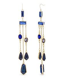 Women's Multicolored Rhinestone Yellow Gold-Tone Chandelier-Style Earrings