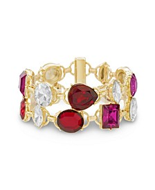 Women's Red, White And Hot Pink Rhinestone 2-Row Yellow Gold-Tone Link Bracelet