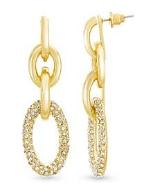 Catherine Malandrino Women's Pave Interlocked Oval Yellow Gold-Tone Hoop Earrings