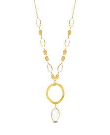 "Catherine Malandrino Women's White Rhinestone ""O"" Circle Yellow Gold-Tone Chain Necklace"