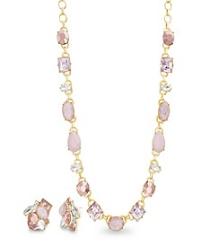 Women's Pink Rhinestone Yellow Gold-Tone Cluster Earring And Necklace Set