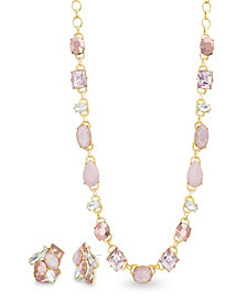 Catherine Malandrino Women's Pink Rhinestone Yellow Gold-Tone Cluster Earring And Necklace Set