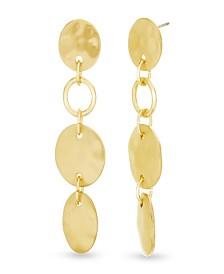 Catherine Malandrino Women's Hammered Disc Link Yellow Gold-Tone Drop Earrings