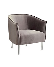 Welted Trim Fabric Upholstered Accent Chair with Acrylic Legs