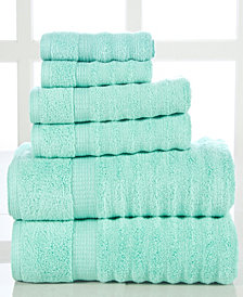 Elegance Spa Quick Dry Cotton Ribbed 6 Piece Towel Set