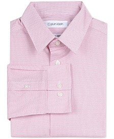 Calvin Klein Big Boys Slim-Fit Stretch Dot-Print Dress Shirt