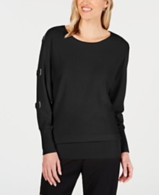JM Collection Buckle Dolman-Sleeve Sweater, Created for Macy's