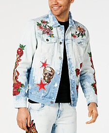 Reason Men's Embroidered Denim Jacket
