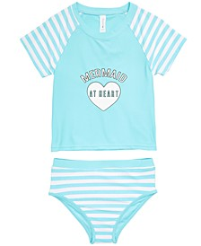 Little Girls 2-Pc. Mermaid Rash Guard Swimsuit, Created for Macy's