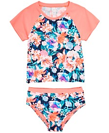 Ideology Little Girls 2-Pc. Floral-Print Rash Guard Swimsuit, Created for Macy's