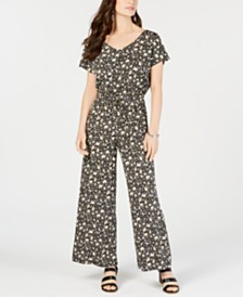 Style & Co Petite Printed V-Neck Jumpsuit, Created for Macy's