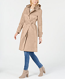 Anne Klein Belted Hooded Trench Coat