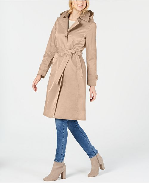 Anne Klein Belted Hooded Water Resistant Trench Coat