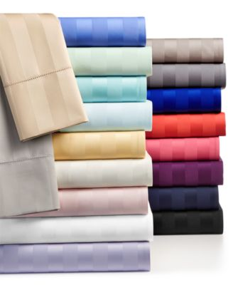 Stripe Twin XL Fitted Sheet, 550 Thread Count 100% Supima Cotton, Created for Macy's