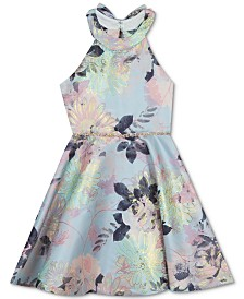 Rare Editions Big Girls Plus-Size Metallic Floral-Print Dress, Created for Macy's