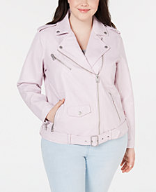 Levi's® Trendy Plus Size Faux-Leather Oversized Moto Jacket