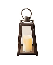 Lumabase Warm Black Tapered Metal Lantern with LED Candle